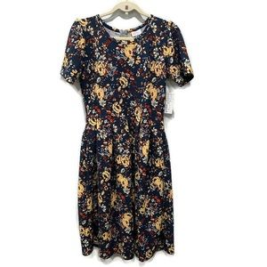 LuLaRoe L Floral Amelia Dress Navy Yellow Pockets